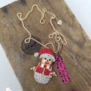 Betsy Johnson Christmas Snowman Necklace Red Gold